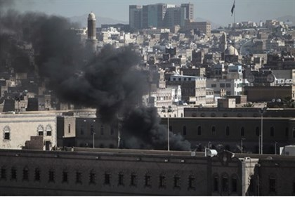 Smoke rises from Yemen Defense Ministry's compound after attack