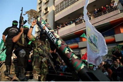 Gaza terrorists with missile