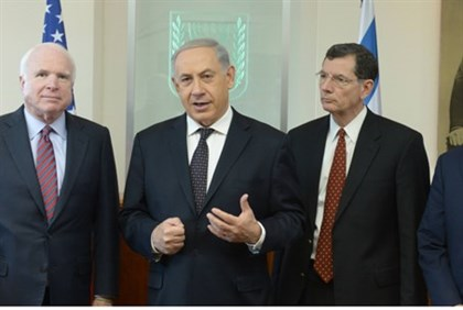 Netanyahu seen with Senators Graham, Barrasso and McCain on January 3, 2014