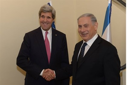 John Kerry with Prime Minister Netanyahu before leaving for Jordan