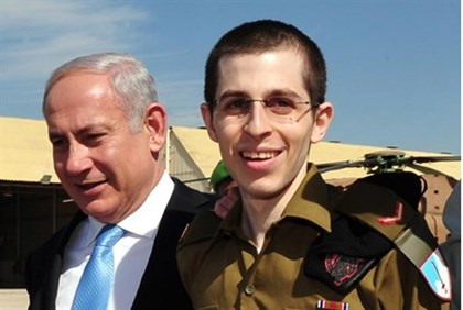 Newly released Gilad Shalit with Binyamin Netanyahu