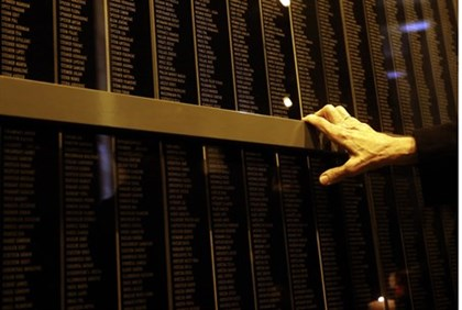 Wall bearing the names of victims at Budapest's Holocaust Memorial Center