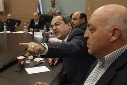 Arab MK Ahmed Tibi in committee debate (file)