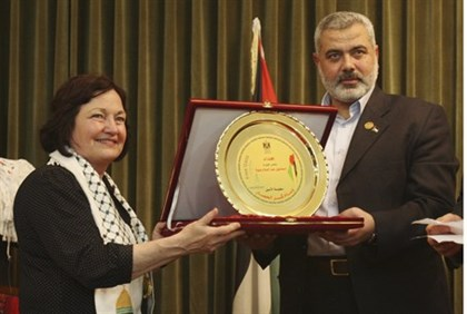 Mairead Maguire and senior Hamas leader Ismail Haniyeh