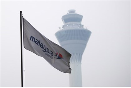 Malaysia Airlines flag is seen at Kuala Lumpur International Airport
