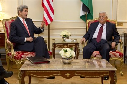 John Kerry and Mahmoud Abbas meet in Paris, February 2014