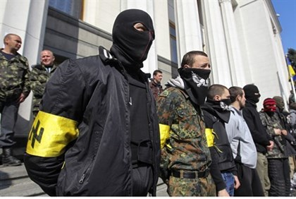 Far-right Right Sector activists outside Ukraine's parliament