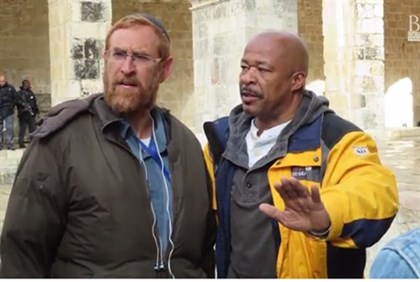 Pastor Keith Johnson with Yehuda Glick on the Temple Mount