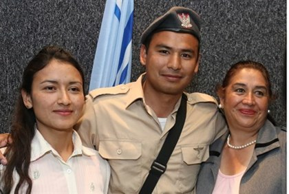 Diego Tapia with mother and sister