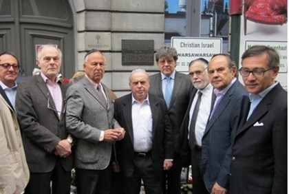 Natan Sharansky, center, with Jewish community leaders at scene of Brussels shooting