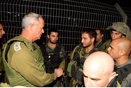 Chief of Staff Benny Gantz at scene of Tapuach attack