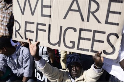 Staged infiltrator protest. Most illegal migrants are not refugees.