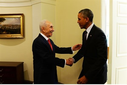 Peres and Obama at the White House