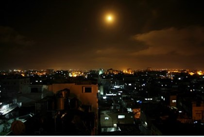 Light flare over Gaza after airstrike