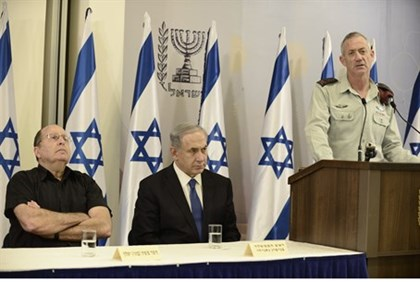 Benny Gantz, Binyamin Netanyahu and Moshe Ya'alon at Security Cabinet