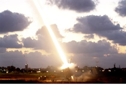 The Iron Dome intercepts a Hamas-fired missile