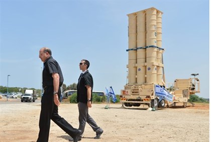 Defense Minister Moshe Ya'alon at Arrow 2 test