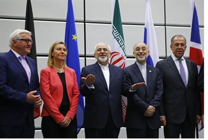 Mohammad Javad Zarif (center) and Ali Akbar Salehi with EU, German and Russian FMs