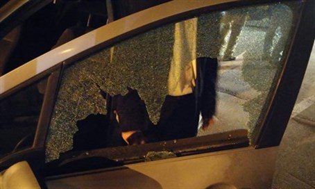 The rabbi's car after the attack.