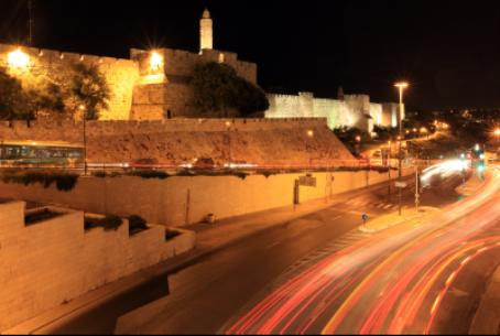 Old City walls at night