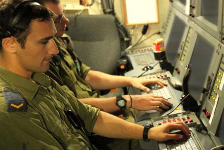 IDF soldiers working on the Internet