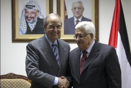 Mitchell and Abbas, with picture of Arafat
