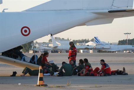 Crew of Turkish air ambulance waits for floti