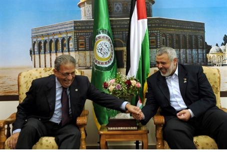 Arab League head Amr Moussa, Ismail Haniyeh