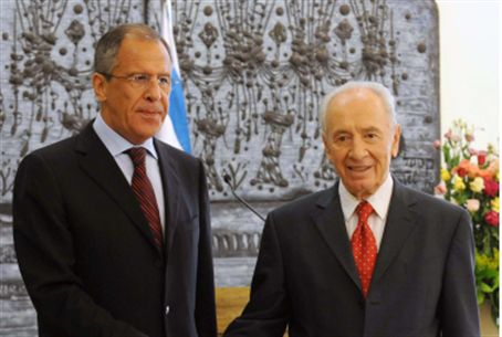 Lavrov with Israeli President Shimon Peres