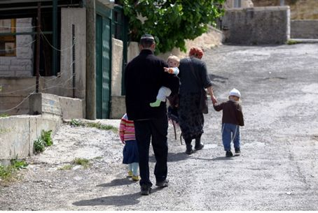 Jewish family walking in Shimon HaTzaddik (Sh