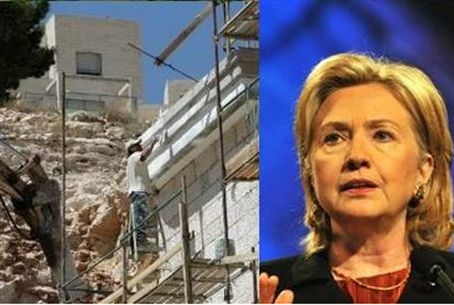 Clinton wants freeze on building for Jews