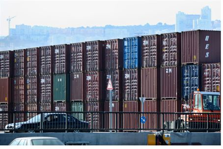 Shipping containers at Haifa port