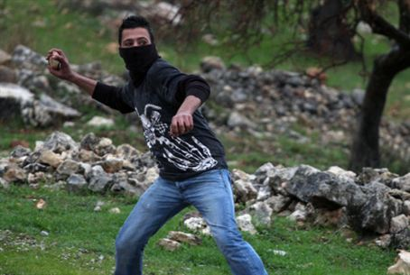 Stone Throwing at Bilin Protest