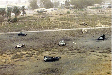 Destroyed Iraqi tanks in the field