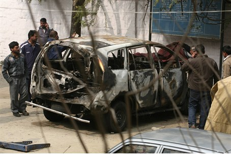 Tal Yehoshua-Koren's car after New Delhi terr
