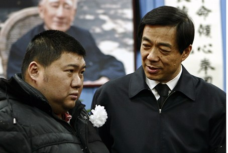 Bo (r) with Mao's grandson