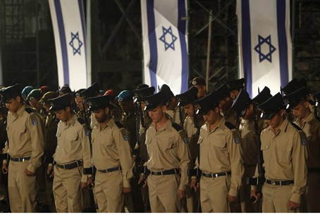 Soldiers at Memorial Day ceremony in Jerusale