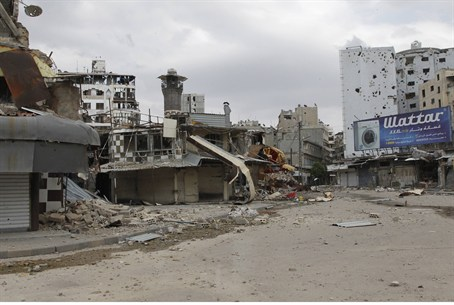 Damage in Syria neighborhood