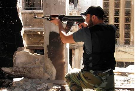 Free Syrian Army soldier in  military exercis