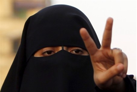 A veiled woman supporter of Muslim Brotherho