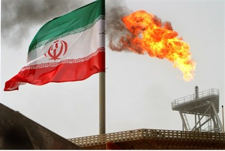 Gas flares from Iranian oil production platfo