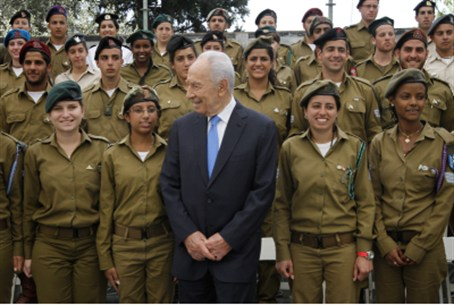 Peres with soldiers (file)