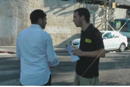 Students talk with Bnei Brak residents