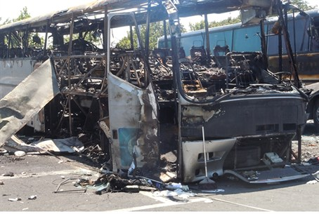 A bus that was damaged in the Bulgaria terror