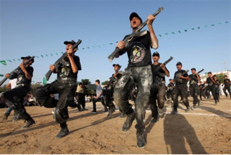 Hamas campers ages 12 - 18 perform mock exerc