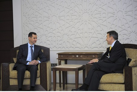 Assad meets ICRC President Peter Maurer in Da
