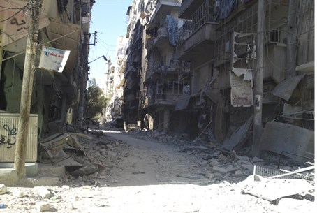 A view of damaged buildings in Aleppo
