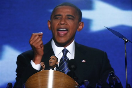 Obama addresses delegates at the Democratic N