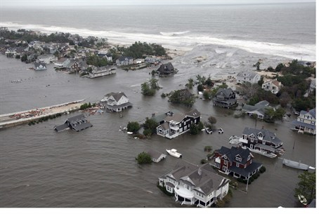 Aerial view of hurricane damage to NJ coastli