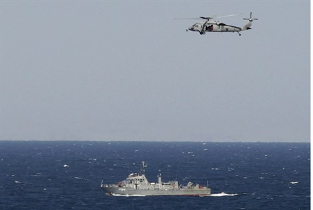 helicopter from US aircraft carrier over Iran